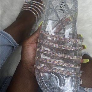 Jelly Rhinestone Slide On Sandals